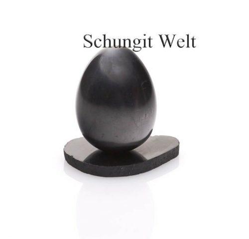 Schungit-Ei mit Schungit-Untersetzer poliert-0