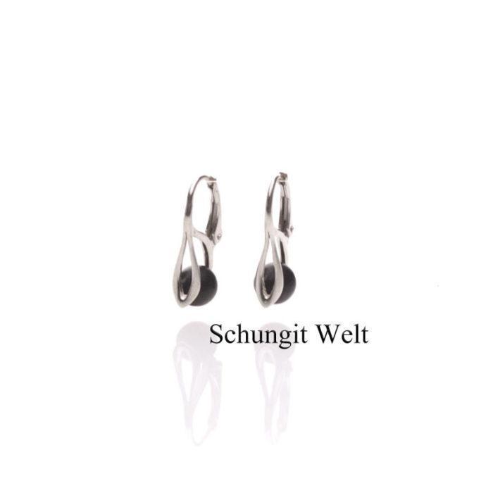 "Schungit-Ohrringe ""Lilia"" ( 925 Silber )-0"