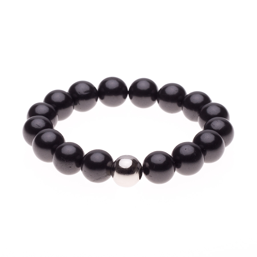 Schungit-Armband 12 mm x 16 Perlen-0