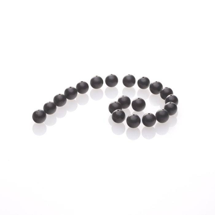 Schungit-Perle, gebohrt und poliert-579